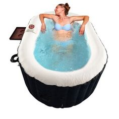 ALEKO 2 Person 130 Jet Inflatable Hot Tub | Wayfair Traditional Hot Tubs, Inflatable Hot Tub Reviews, Drinks Tray, Deep Relaxation, Refreshing Drinks, Own Home, Jet, Ideas, Products