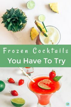 Frozen cocktail recipes you have to try, including skinny recipes such as frozen daiquiris and Pina Colada. These are easy to make frozen cocktails perfect for summer, featuring vodka, run, gin and Prosecco. Frozen Cocktails, Winter Cocktails, Easy Cocktails, Gin And Prosecco, Cocktails To Make At Home, Frozen Daiquiri, Best Cocktail Recipes, Cocktail Making, Skinny Recipes