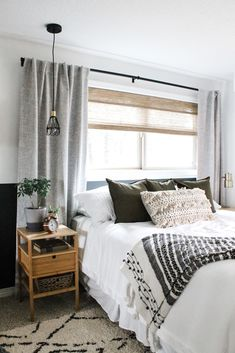 Reveal: Master Bedroom Refresh with Boho Decor - allisa jacobs - - Master bedroom refresh on a budget with modern boho details and decor including bamboo bedding, black wall, textured pillows, and moroccan rug. Unique Home Decor, Cheap Home Decor, Target Home Decor, Farmhouse Master Bedroom, Modern Boho Master Bedroom, Apartment Master Bedroom, Country Bedroom Design, Natural Bedroom, Master Bedroom Interior
