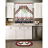 Achim Home Furnishings Rooster Tier and Swag Set, x Burgundy Sunflower Themed Kitchen, Cottage Windows, Rooster Kitchen Decor, Kitchen Themes, Home Furnishings, Swag, Burgundy, Kitchen Cabinets, Things To Sell