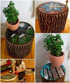 Beautiful Way of Reusing Old Wood Logs With Ceramics Into Stools • Recyclart
