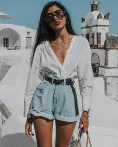 vintage feel boyfriend light denim high waisted short rolled up at the hem matc., Beach Outfits, vintage feel boyfriend light denim high waisted short rolled up at the hem matched with a dark brown leather belt and crisp white long sleeve blouse i. Mode Outfits, Casual Outfits, Fashion Outfits, Womens Fashion, Beach Outfits, Vintage Summer Outfits, Spring Outfits, Ladies Fashion, Fashion Clothes
