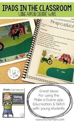 Great ideas for using the Make a Scene app, Educreations, & Skitch to teach prepositions, math skills, and writing to young students. $