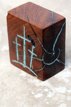 2  high x 2  wide Mesquite block with Turquoise by BlackFacedSheep