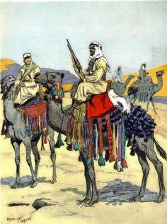 Méharistes au Levant, 1935, par Maurice Toussaint, célèbre illustrateur de l'entre-deux guerres.