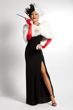 Black dress from closet + wig + most fabulous faux fur you can grab. Then practice your cackle.