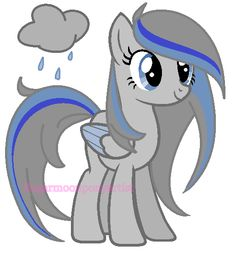 Meet Storm Cloud, Storm Cloud is a amazing pegasus whose personality is outgoing and is great at what she does.