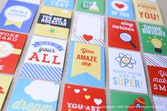 Free printable lunchbox notes from Elegance and Enchantment: So many great designs!