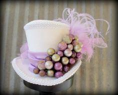 Lilac, Lavendar Berry Christmas Mini Top Hat, Alice in Wonderland Hat, Mad Hatter Hat, Steampunk, Tea Party Hat, Shower, Moulin Rouge