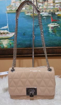 4149c29eed2642 Michael Kors Vivianne Medium Shoulder Flap Leather Bag NWT $398 Oyster NWT # MichaelKors #MessengerCrossBody