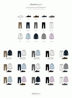 Quick and Easy Color Combos. Here's how to use this >> http://effortlessgent.com/clothing-color-combos/