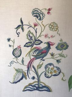 large crewel embroidery bird and flowers/framed art/framed
