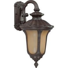 Nuvo Lighting Beaumont Collection One Light Energy Star Efficient Exterior Outdoor Wall Lantern in Fruitwood Finish