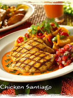 """Chicken Santiago grilled chicken, roasted red pepper sauce, fried yucca, sauteed onion & peppers, fresh salsa and chimichurri sauce #BahamaBreeze My favorite """"discontinued"""" dish"""