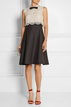 Valentino | Lace and wool and silk-blend crepe dress | NET-A-PORTER.COM