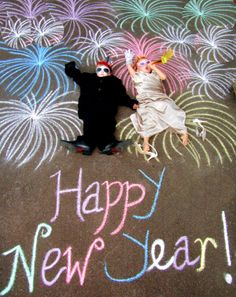New Year's chalk drawings for the kids