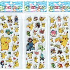 Hamtoys Stickers Đồ Chơi 3 cái/lốc Foam Cartoon 3D Nhãn Dán Dễ Thương Pikachu Dán Trẻ Em Kids Bé Boys and Girls Gift # ST007