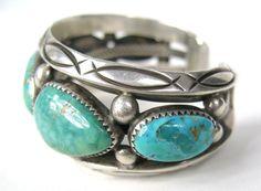 Orville Tsinnie Navajo Silver Turquoise Cuff Bracelet at 1stdibs