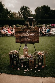 Wood calligraphy welcome sign romantic and moody wisconsin botanical garden wedding caylee + austin via wedding planner guide garden wedding ideas beautiful decorations for a fun Outdoor Wedding Signs, Wedding Welcome Signs, Wedding Backyard, Vintage Outdoor Weddings, Rustic Garden Wedding, Rustic Weddings, Romantic Weddings, Small Garden Wedding, Wedding Venues