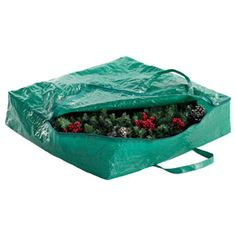 """The Container Store > Wreath Storage Bags. Wreath Storage Bag Green  26"""" sq. x 6"""" h  10059191  Need 3!"""