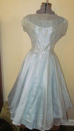 Vtg Aqua Cocktail Tea Party Prom Dress Full Skirt by ThenForNow