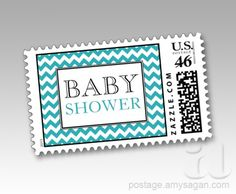 Chevron Turquoise White Baby Shower Postage Stamps