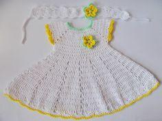 Crochet Baby Dress, Newborn dresses, white yellow baby dress, baby headband dresses set, Baby dress, White green yellow dress, Baby shower