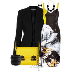 """Sergio Rossi BlackYellow"" by ccroquer on Polyvore"
