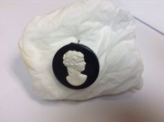 Vintage 1960's Lucite Cameo Brooch White on by MzVintageAffair3, $10.00