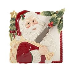 Fitz & Floyd Night Before Christmas Collection, Snack Plate with Matching Spreader, Red/White. #FitzandFloyd #Christmas #Decor #Figurines #Gift #Giftideas #gosstudio .★ We recommend Gift Shop: http://www.zazzle.com/vintagestylestudio ★