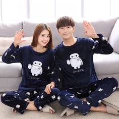 Autumn Winter Couple Baymax Cartoon Plus Thick Pajama with Long Sleeve Long  Pant O Neck Warm Large Size Pajama Sets Home Suits 48270e8b1