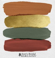 Wedding color palette - The Perfect Wedding Color Palette Copper, Gold, Pine and Brick Fall wedding colors Orange and green wedding colors Orange and gold wedding Copper wedding colors Brick wedding colors Pine weddin Fall Color Palette, Colour Pallete, Colour Schemes, Wedding Color Schemes, Gold Palette, Gold Color Palettes, Gold Color Scheme, Gold Colour, Decorating Color Schemes