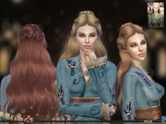 Woman Hair _ Long Hairstyle Fashion The Sims 4 _ - The Sims 4 Love Life Asia VietNam My Sims, Sims Cc, Medieval Hairstyles, Female Hairstyles, Sims Medieval, The Sims 4 Cabelos, Sims 4 Gameplay, Sims Hair, Sims 4 Cc Finds