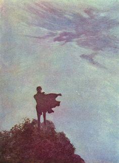 "Edmund Dulac art: Poems of Edgar Allan Poe -- Edmund Dulac, Alone, illustration for ""The Poems of Edgar Allan Poe"""