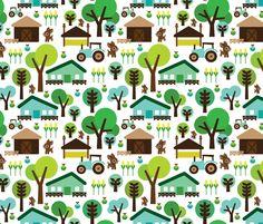 Retro farm animal kids pattern fabric by littlesmilemakers on Spoonflower - custom fabric design by Maaike Boot.