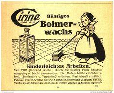 Original-Werbung/ Anzeige 1921 - CIRINE FLÜSSIGES BOHNERWACHS - ca. 115 x 90 mm