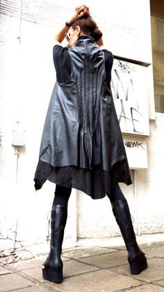 Loose Black  Linen Faux Leather  Vest / Asymmetric  Vest / Double Sided Vest / Extravagant  Tunic  Top A02129