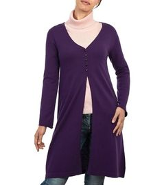 Purple Extra Long Vee Cardigan for Women in Cashmere & Merino V Neck Cardigan, Cashmere Cardigan, Long Cardigan, Knit Cardigan, Cardigans For Women, New Outfits, Tunic Tops, Lady, Sweaters