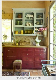 75 French Country Style Kitchen Decorating Ideas – House Decor Tips Country Kitchen Designs, French Country Kitchens, French Country Cottage, Rustic Kitchen, Vintage Kitchen, Country Style, Kitchen Country, Western Kitchen, Cottage Style