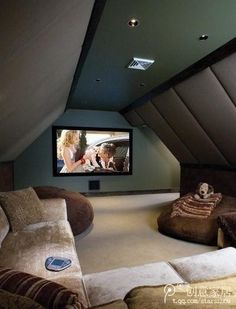 turn attic into home theater - love this idea