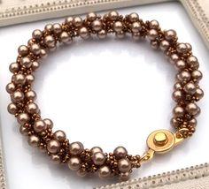 Swarovski Pearl Spiral Handwoven Bracelet by BeBoDesigns on Etsy