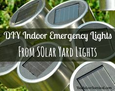 Make your own indoor emergency lights from inexpensive solar yard lights.  Detailed directions and lots of photos.  | via www.BackdoorSurvival.com