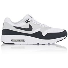 Nike Men's Air Max 1 Ultra Essential Sneakers ($120) ❤ liked on Polyvore featuring men's fashion, men's shoes, men's sneakers, white, mens sneakers, mens lace up shoes, mens low tops, mens white shoes and nike mens shoes