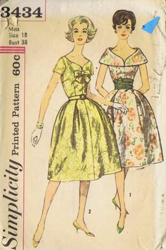 "ONE PC DRESS VINTAGE Sewing Pattern 3434 SIMPLICITY SIZE 18 BUST 38 HIP 40"" CUT"