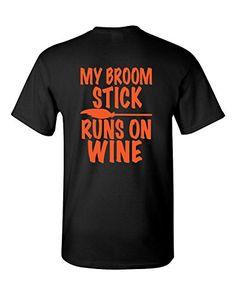 Short Sleeve Halloween T-Shirt My Broom Stick Runs On Win…