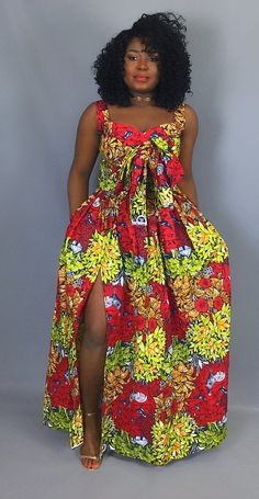 African print crop top with front bow and maxi skirt