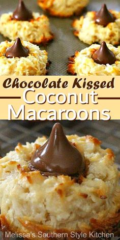 Cookie lovers will swoon for these Chocolate Kissed Coconut Macaroons Easy No Bake Desserts, Cookie Desserts, Baking Desserts, Baking Recipes, Cookie Recipes, Dessert Recipes, Cookies Cupcake, Yummy Cookies, Shortbread Cookies