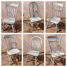 Collection Of Vintage Chairs Custom Finished In Benjamin Moore Chelsea Gray Farmhouse