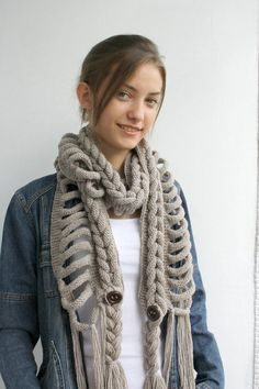 Hand Knit Milky Brown Wool Scarf with Brown Button Autumn Beginner Knit Scarf, Easy Knitting, Beginner Crochet, Free Crochet, Knit Crochet, Crochet Scarves, Knitting Scarves, Cowl Scarf, Neck Warmer
