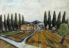 Auguste Chabaud (French, 1882-1955), Mas et Cyprès [Farm estate and cypresses], c.1920. Oil on cardboard, 74 x 105 cm.